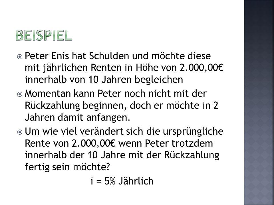 Peter Enis hat Schulden und möchte diese mit jährlichen Renten in Höhe von 2.000,00 innerhalb von 10 Jahren begleichen Momentan kann Peter noch nicht mit der Rückzahlung beginnen, doch er möchte in 2 Jahren damit anfangen.