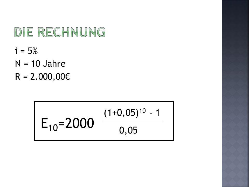 i = 5% N = 10 Jahre R = 2.000,00 E 10 =2000 (1+0,05) 10 - 1 0,05