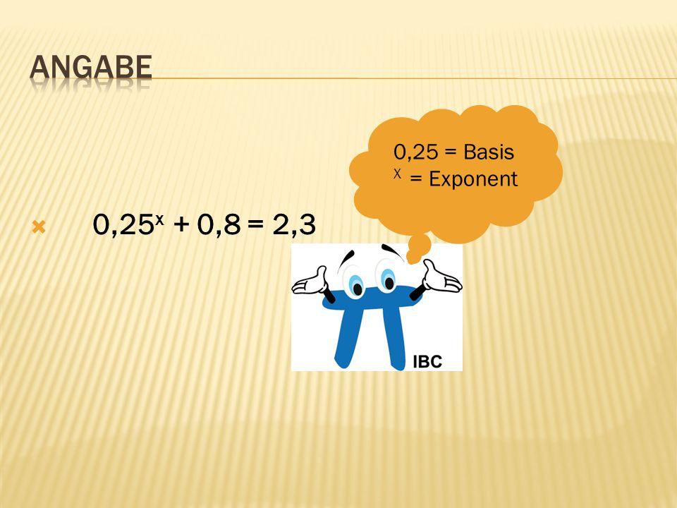 0,25 x + 0,8 = 2,3 0,25 = Basis X = Exponent