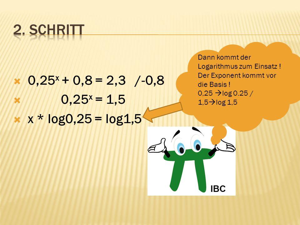 0,25 x + 0,8 = 2,3 /-0,8 0,25 x = 1,5 x * log0,25 = log1,5 /:log0,25 x = Man berechnet x, indem man durch den Logarithmus dividiert !