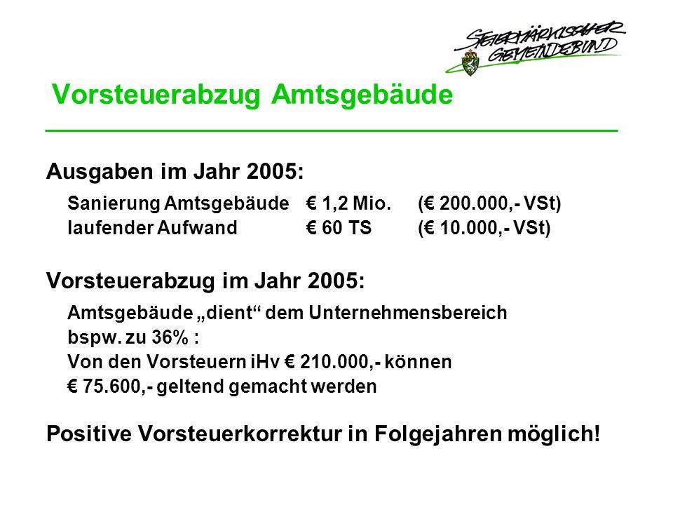 Vorsteuerabzug Amtsgebäude Ausgaben im Jahr 2005: Sanierung Amtsgebäude 1,2 Mio.
