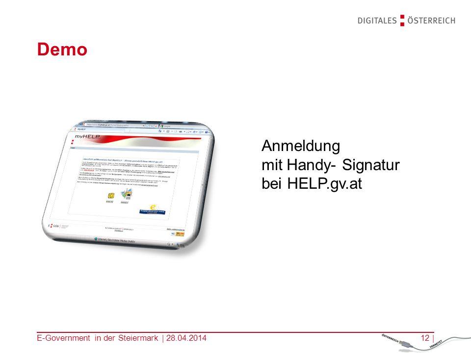 E-Government in der Steiermark | 28.04.201412 | Demo Anmeldung mit Handy- Signatur bei HELP.gv.at