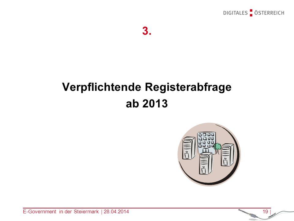 E-Government in der Steiermark | 28.04.201419 | 3. Verpflichtende Registerabfrage ab 2013