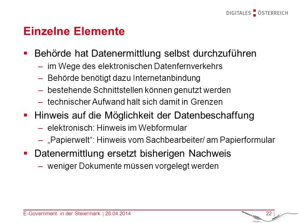 E-Government in der Steiermark | 28.04.201422 | Einzelne Elemente Behörde hat Datenermittlung selbst durchzuführen –im Wege des elektronischen Datenfe