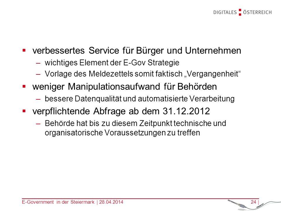 E-Government in der Steiermark | 28.04.201424 | verbessertes Service für Bürger und Unternehmen –wichtiges Element der E-Gov Strategie –Vorlage des Me