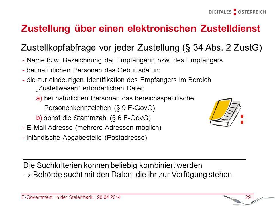 E-Government in der Steiermark | 28.04.201429 | Zustellung über einen elektronischen Zustelldienst - Name bzw. Bezeichnung der Empfängerin bzw. des Em