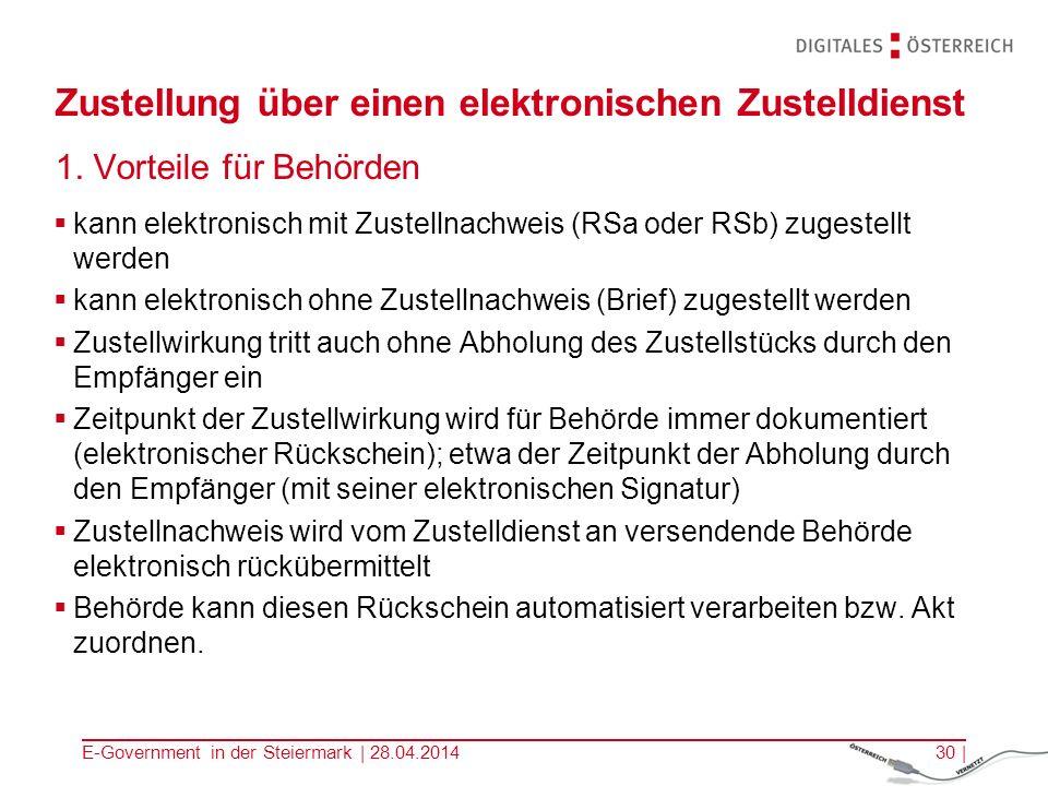 E-Government in der Steiermark | 28.04.201430 | Zustellung über einen elektronischen Zustelldienst 1. Vorteile für Behörden kann elektronisch mit Zust