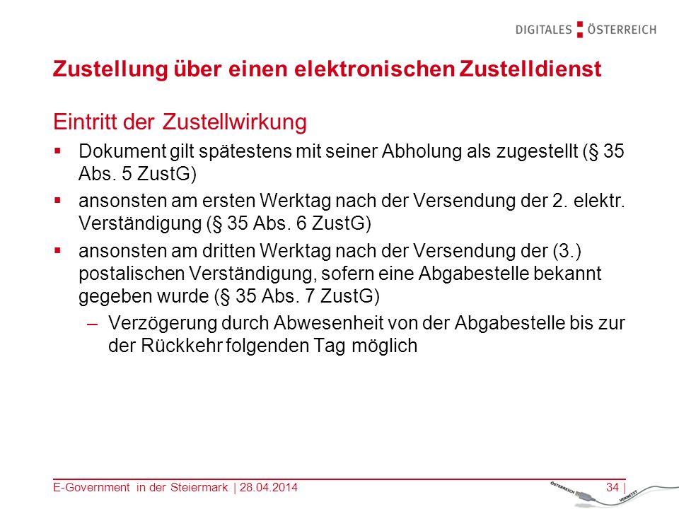 E-Government in der Steiermark | 28.04.201434 | Zustellung über einen elektronischen Zustelldienst Eintritt der Zustellwirkung Dokument gilt spätesten
