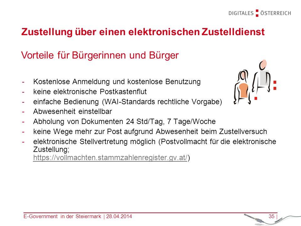 E-Government in der Steiermark | 28.04.201435 | Zustellung über einen elektronischen Zustelldienst Vorteile für Bürgerinnen und Bürger -Kostenlose Anm