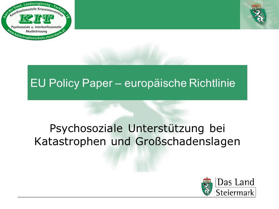Autor EU Policy Paper – europäische Richtlinie Psychosoziale Unterstützung bei Katastrophen und Großschadenslagen