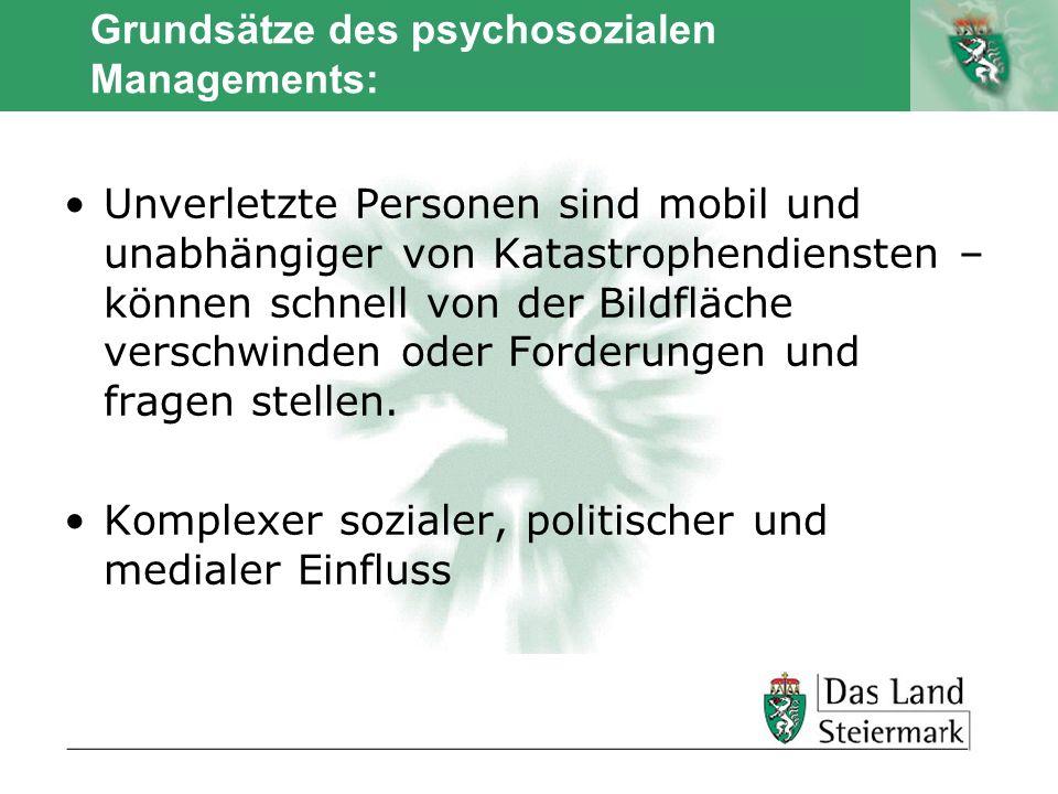 Autor Grundsätze des psychosozialen Managements: Pro - aktiver Zugang – nicht abwartend Kontinuierliche Einschätzung der Gesamtsituation ist erforderlich Klarheit über die Leitung der psychosozialen Versorgung