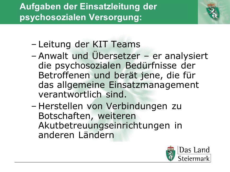 Autor Aufgaben der Einsatzleitung der psychosozialen Versorgung: –Leitung der KIT Teams –Anwalt und Übersetzer – er analysiert die psychosozialen Bedü