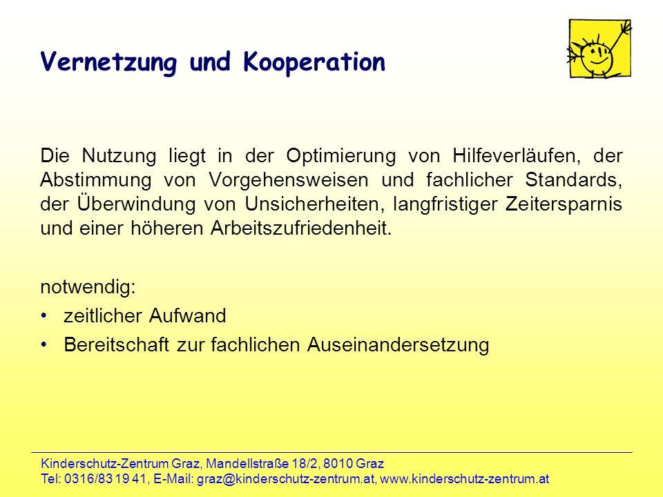 Kinderschutz-Zentrum Graz, Mandellstraße 18/2, 8010 Graz Tel: 0316/83 19 41, E-Mail: graz@kinderschutz-zentrum.at, www.kinderschutz-zentrum.at Vernetz