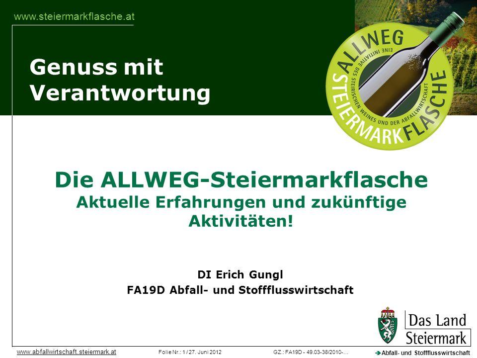 GZ.: FA19D - 49.03-38/2010-…Folie Nr.: 1 / 27. Juni 2012 Abfall- und Stoffflusswirtschaft www.abfallwirtschaft.steiermark.at Genuss mit Verantwortung