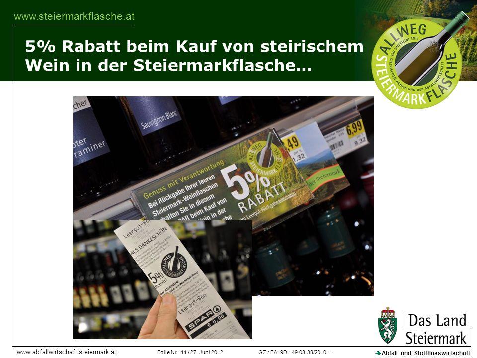 GZ.: FA19D - 49.03-38/2010-…Folie Nr.: 11 / 27. Juni 2012 Abfall- und Stoffflusswirtschaft www.abfallwirtschaft.steiermark.at www.steiermarkflasche.at