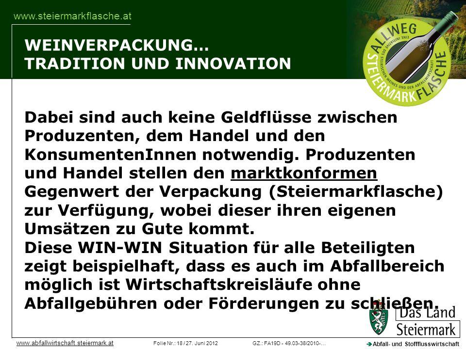 GZ.: FA19D - 49.03-38/2010-…Folie Nr.: 18 / 27. Juni 2012 Abfall- und Stoffflusswirtschaft www.abfallwirtschaft.steiermark.at www.steiermarkflasche.at