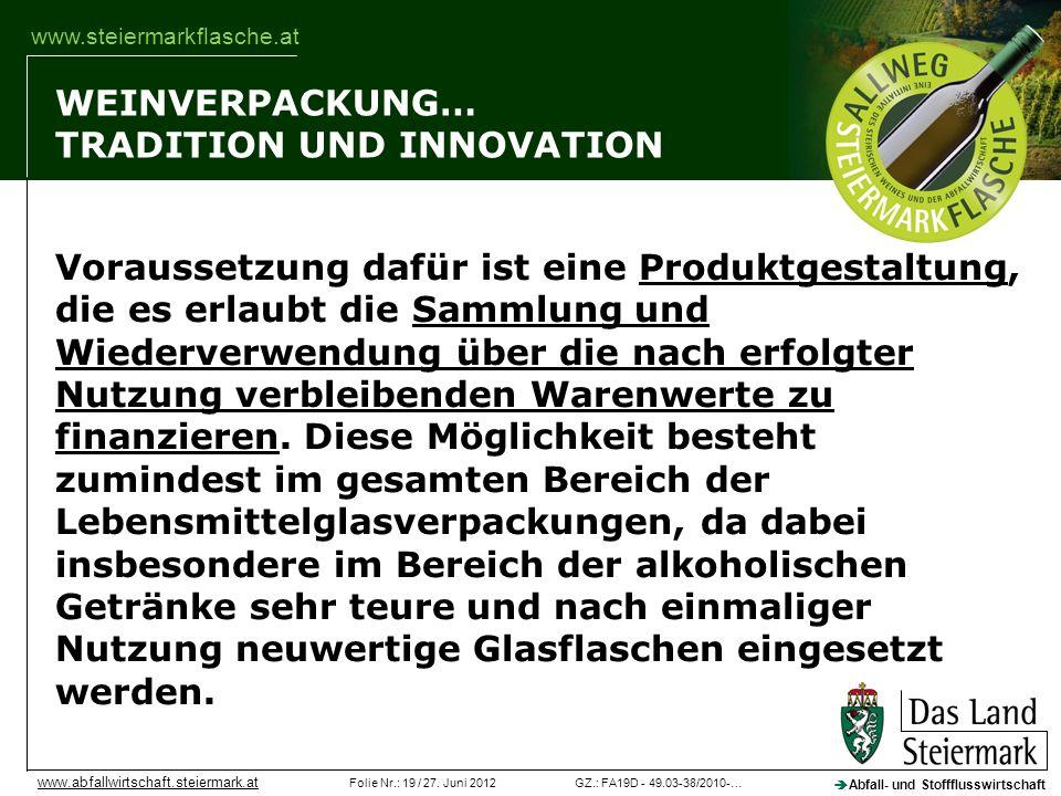 GZ.: FA19D - 49.03-38/2010-…Folie Nr.: 19 / 27. Juni 2012 Abfall- und Stoffflusswirtschaft www.abfallwirtschaft.steiermark.at www.steiermarkflasche.at