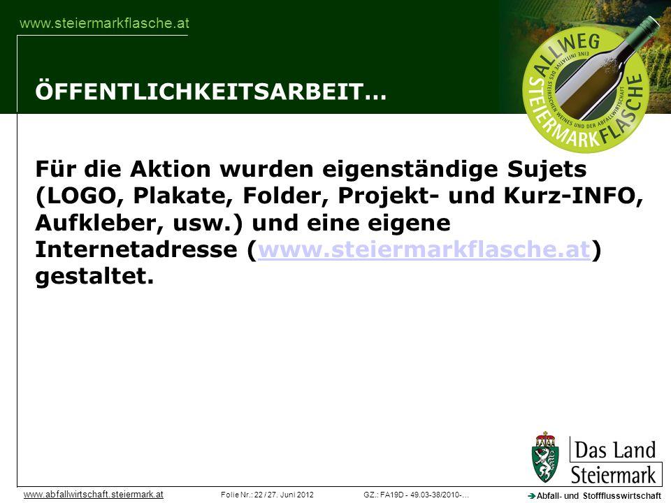 GZ.: FA19D - 49.03-38/2010-…Folie Nr.: 22 / 27. Juni 2012 Abfall- und Stoffflusswirtschaft www.abfallwirtschaft.steiermark.at www.steiermarkflasche.at