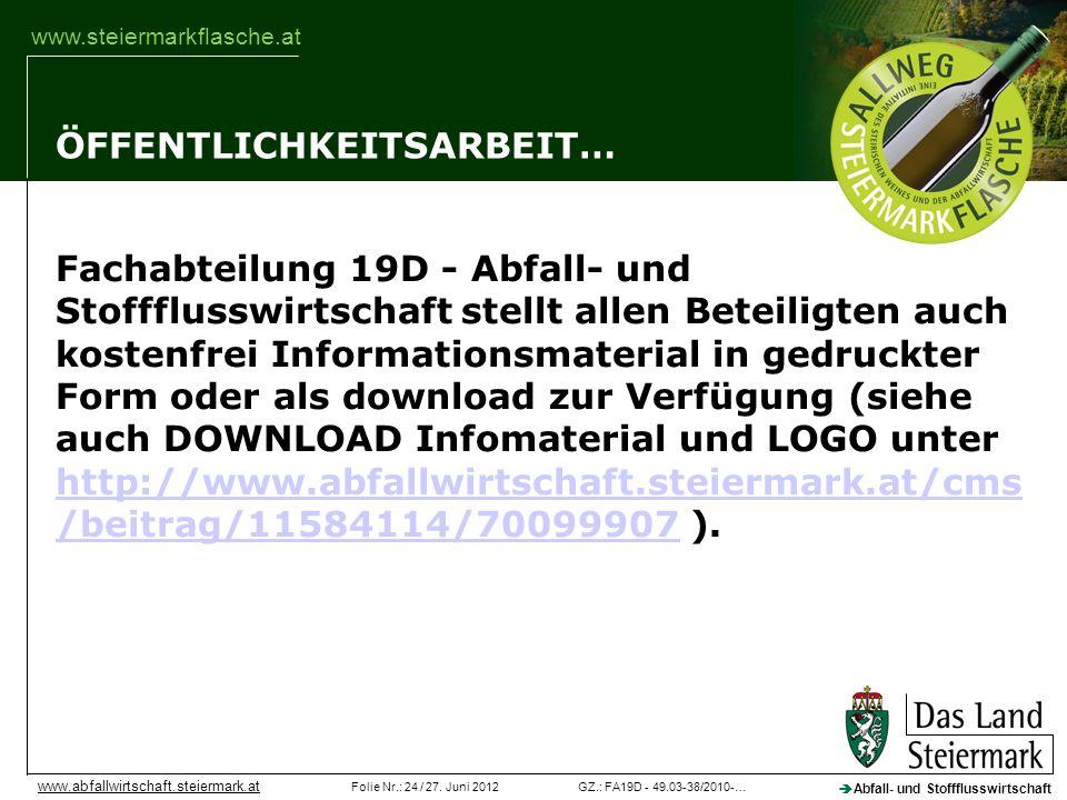 GZ.: FA19D - 49.03-38/2010-…Folie Nr.: 24 / 27. Juni 2012 Abfall- und Stoffflusswirtschaft www.abfallwirtschaft.steiermark.at www.steiermarkflasche.at