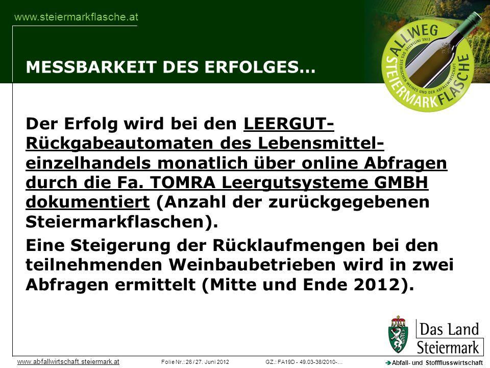 GZ.: FA19D - 49.03-38/2010-…Folie Nr.: 26 / 27. Juni 2012 Abfall- und Stoffflusswirtschaft www.abfallwirtschaft.steiermark.at www.steiermarkflasche.at