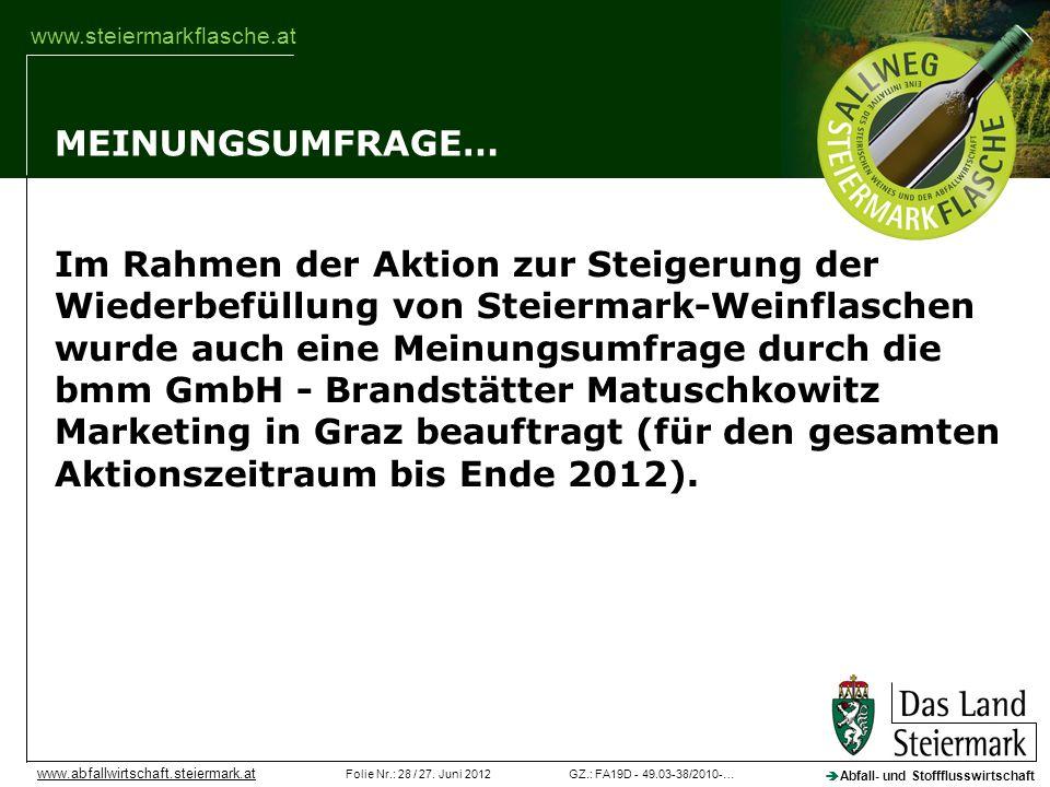 GZ.: FA19D - 49.03-38/2010-…Folie Nr.: 28 / 27. Juni 2012 Abfall- und Stoffflusswirtschaft www.abfallwirtschaft.steiermark.at www.steiermarkflasche.at
