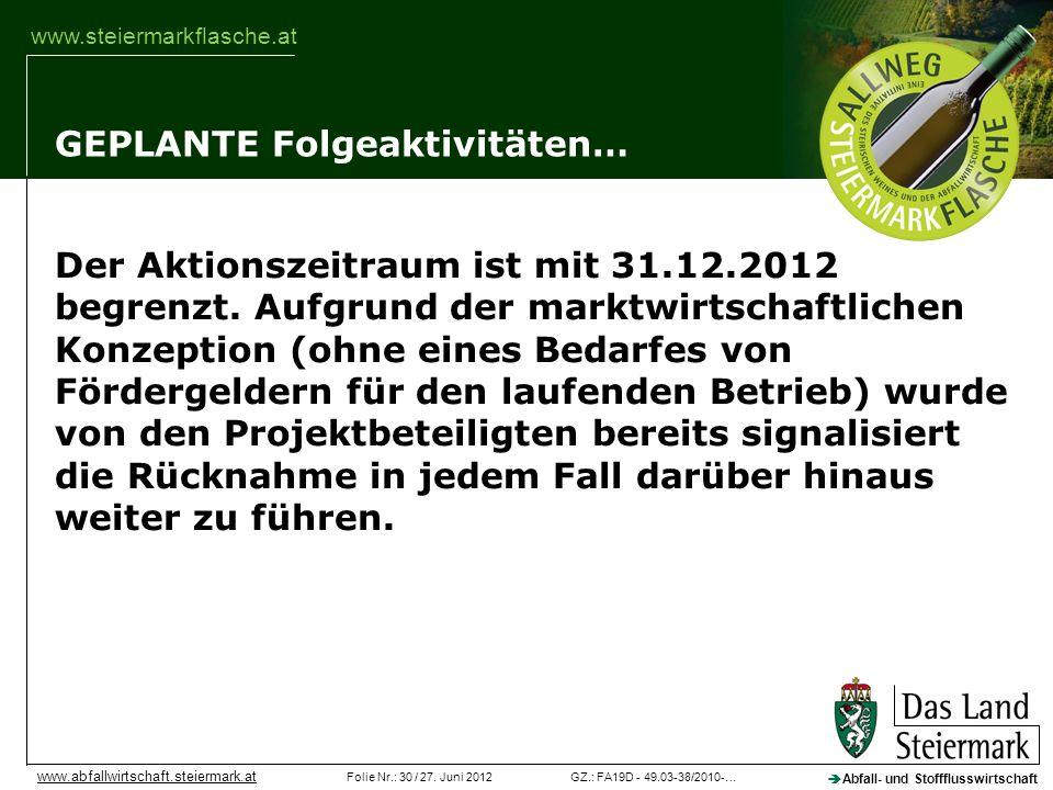 GZ.: FA19D - 49.03-38/2010-…Folie Nr.: 30 / 27. Juni 2012 Abfall- und Stoffflusswirtschaft www.abfallwirtschaft.steiermark.at www.steiermarkflasche.at