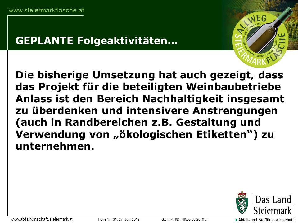 GZ.: FA19D - 49.03-38/2010-…Folie Nr.: 31 / 27. Juni 2012 Abfall- und Stoffflusswirtschaft www.abfallwirtschaft.steiermark.at www.steiermarkflasche.at