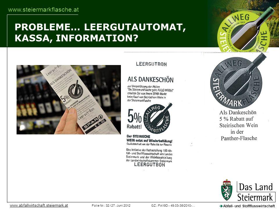 GZ.: FA19D - 49.03-38/2010-…Folie Nr.: 32 / 27. Juni 2012 Abfall- und Stoffflusswirtschaft www.abfallwirtschaft.steiermark.at www.steiermarkflasche.at