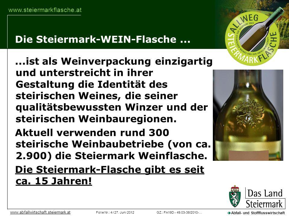GZ.: FA19D - 49.03-38/2010-…Folie Nr.: 4 / 27. Juni 2012 Abfall- und Stoffflusswirtschaft www.abfallwirtschaft.steiermark.at www.steiermarkflasche.at