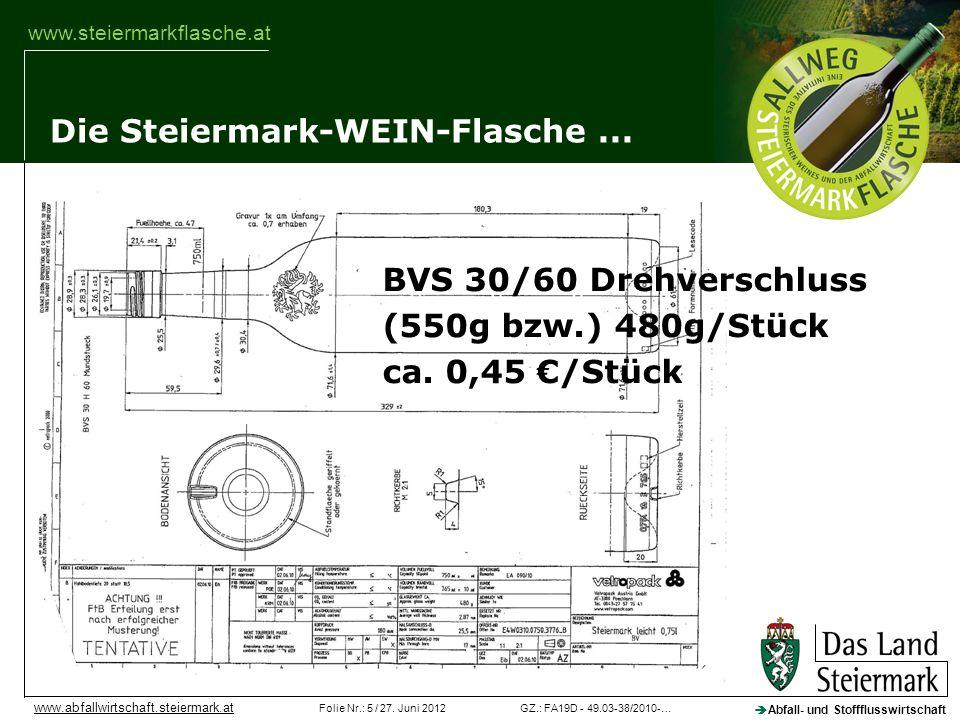 GZ.: FA19D - 49.03-38/2010-…Folie Nr.: 5 / 27. Juni 2012 Abfall- und Stoffflusswirtschaft www.abfallwirtschaft.steiermark.at www.steiermarkflasche.at