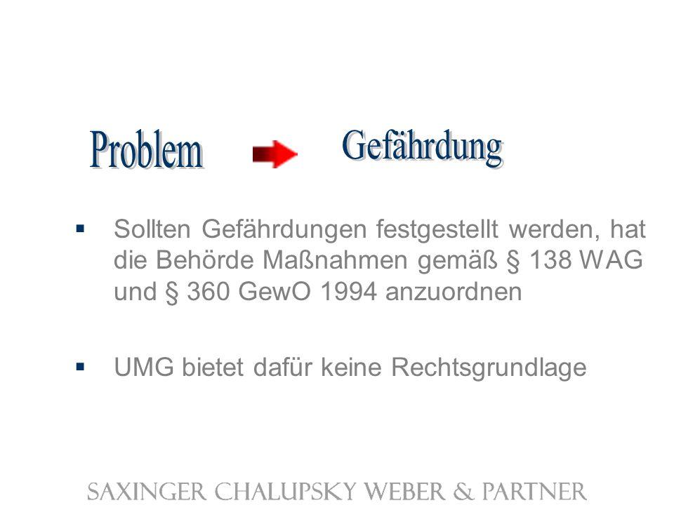 Sollten Gefährdungen festgestellt werden, hat die Behörde Maßnahmen gemäß § 138 WAG und § 360 GewO 1994 anzuordnen UMG bietet dafür keine Rechtsgrundlage