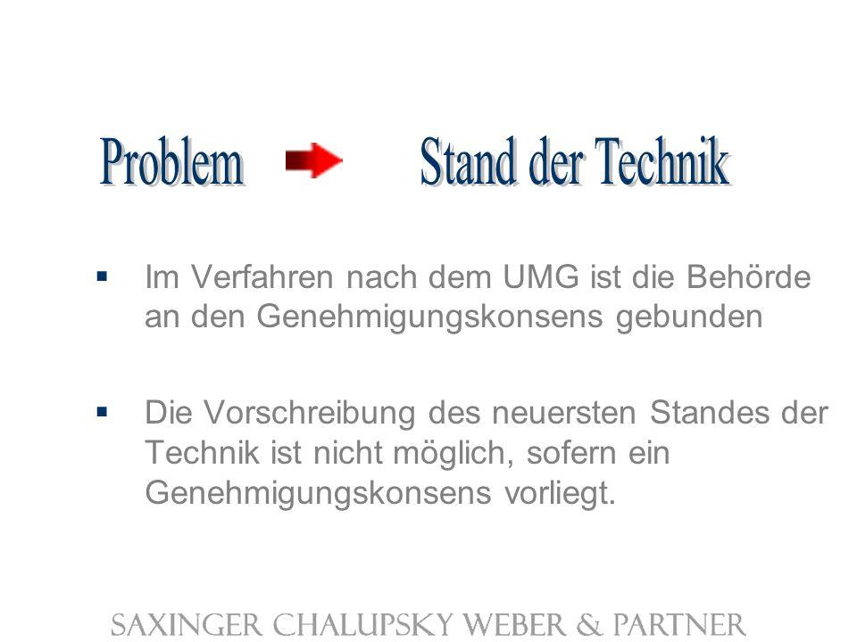 Im Verfahren nach dem UMG ist die Behörde an den Genehmigungskonsens gebunden Die Vorschreibung des neuersten Standes der Technik ist nicht möglich, sofern ein Genehmigungskonsens vorliegt.