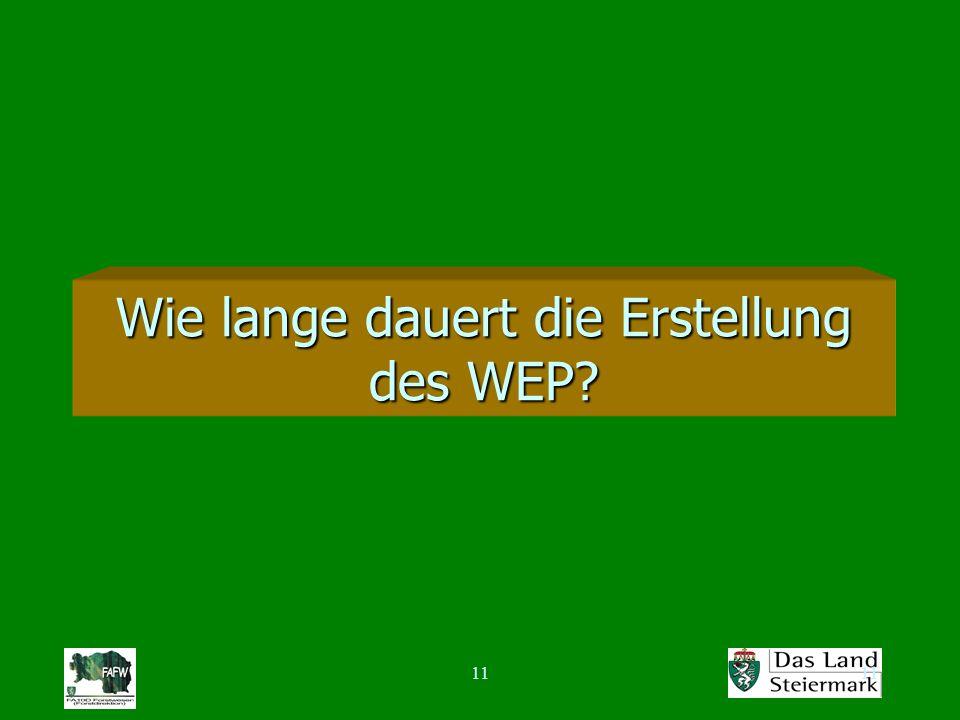 11 Wie lange dauert die Erstellung des WEP?
