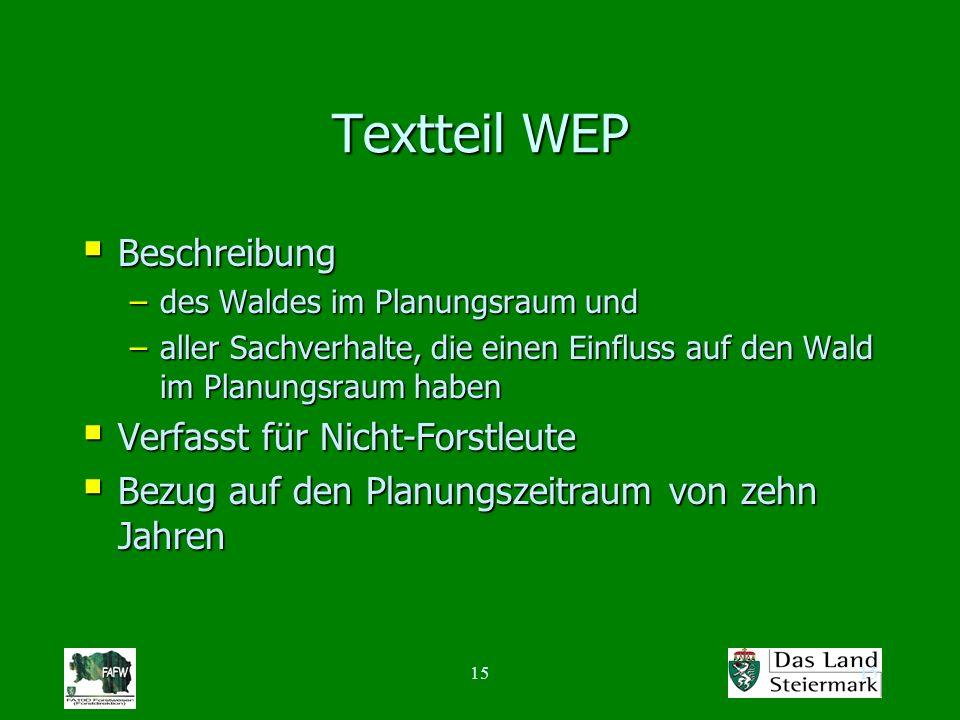 15 Textteil WEP Beschreibung Beschreibung –des Waldes im Planungsraum und –aller Sachverhalte, die einen Einfluss auf den Wald im Planungsraum haben V