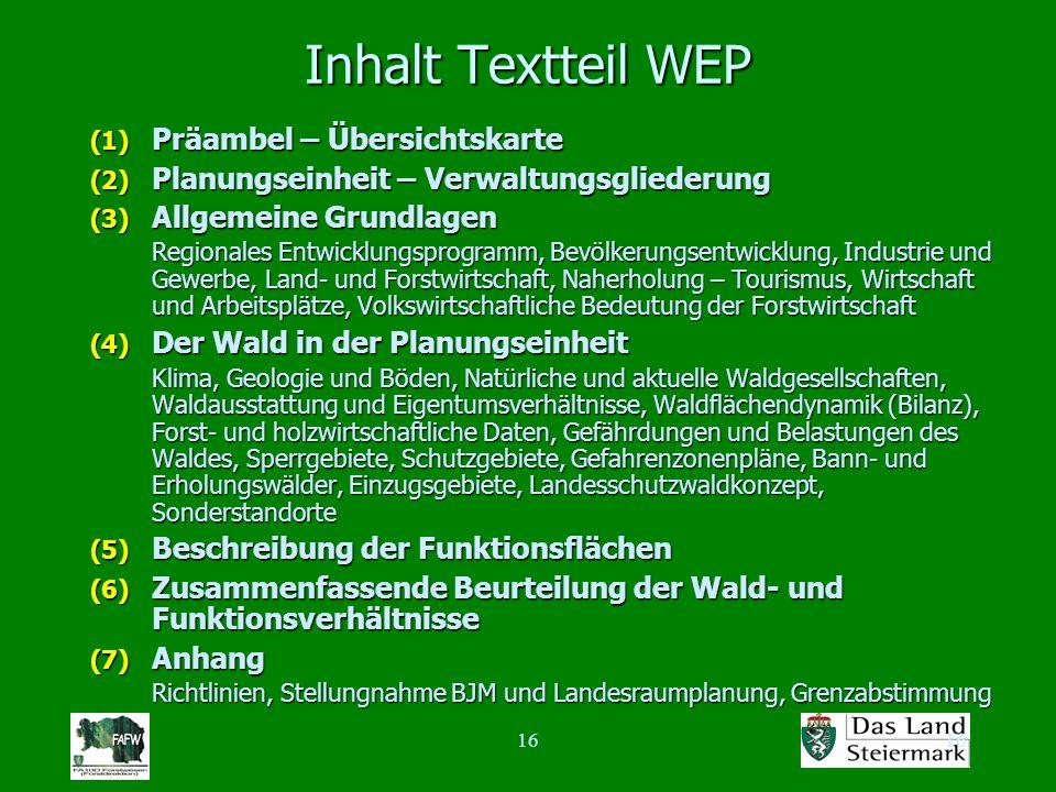 16 Inhalt Textteil WEP (1) Präambel – Übersichtskarte (2) Planungseinheit – Verwaltungsgliederung (3) Allgemeine Grundlagen Regionales Entwicklungspro