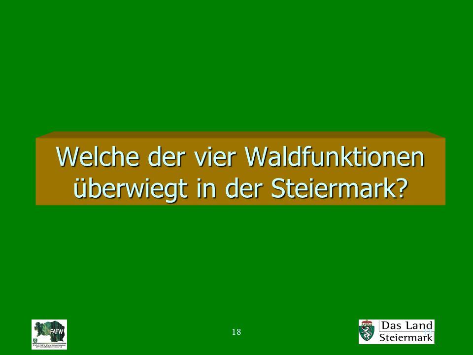 18 Welche der vier Waldfunktionen überwiegt in der Steiermark?