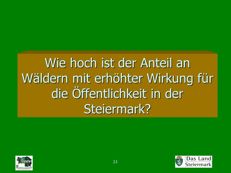21 Wie hoch ist der Anteil an Wäldern mit erhöhter Wirkung für die Öffentlichkeit in der Steiermark?