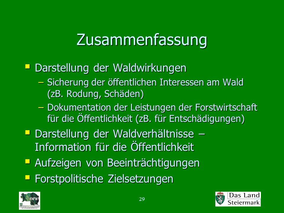 29 Zusammenfassung Darstellung der Waldwirkungen Darstellung der Waldwirkungen –Sicherung der öffentlichen Interessen am Wald (zB. Rodung, Schäden) –D