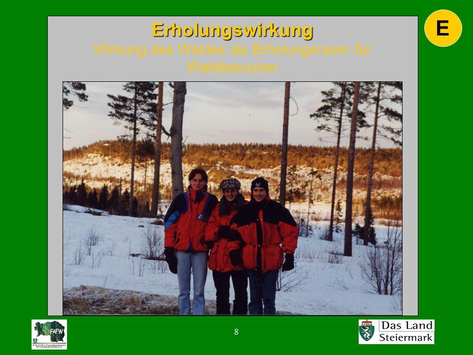 88 E Erholungswirkung Erholungswirkung Wirkung des Waldes als Erholungsraum für Waldbesucher