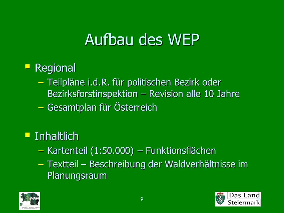 99 Aufbau des WEP Regional Regional –Teilpläne i.d.R. für politischen Bezirk oder Bezirksforstinspektion – Revision alle 10 Jahre –Gesamtplan für Öste