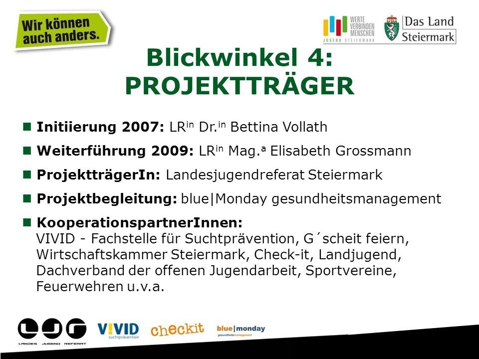 Initiierung 2007: LR in Dr. in Bettina Vollath Weiterführung 2009: LR in Mag. a Elisabeth Grossmann ProjektträgerIn: Landesjugendreferat Steiermark Pr