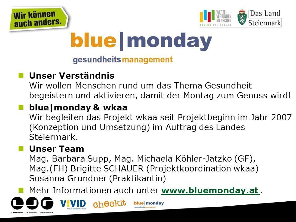 Unser Verständnis Wir wollen Menschen rund um das Thema Gesundheit begeistern und aktivieren, damit der Montag zum Genuss wird! blue|monday & wkaa Wir