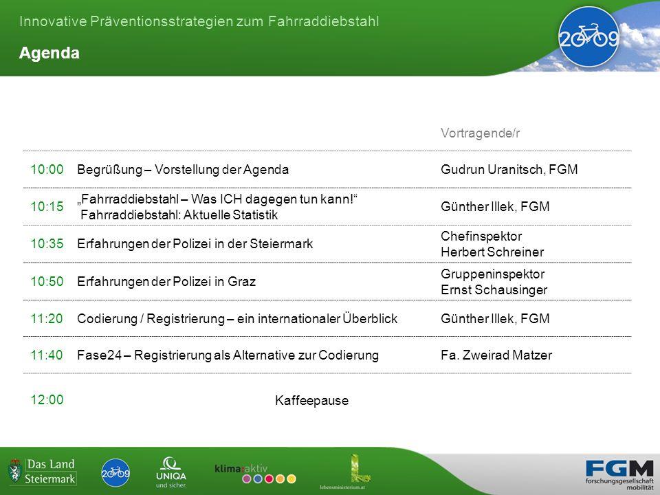 Innovative Präventionsstrategien zum Fahrraddiebstahl Agenda Vortragende/r 10:00Begrüßung – Vorstellung der AgendaGudrun Uranitsch, FGM 10:15 Fahrraddiebstahl – Was ICH dagegen tun kann.