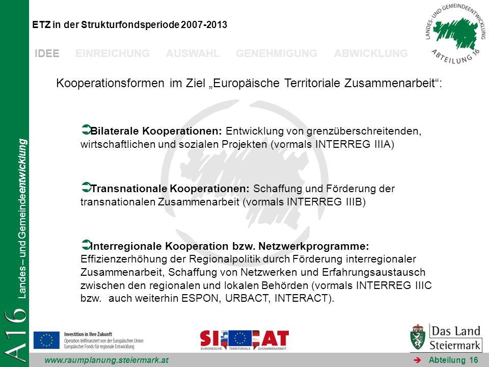 www.raumplanung.steiermark.at Landes – und Gemeindeentwicklung Abteilung 16 ETZ in der Strukturfondsperiode 2007-2013 Kooperationsformen im Ziel Europ