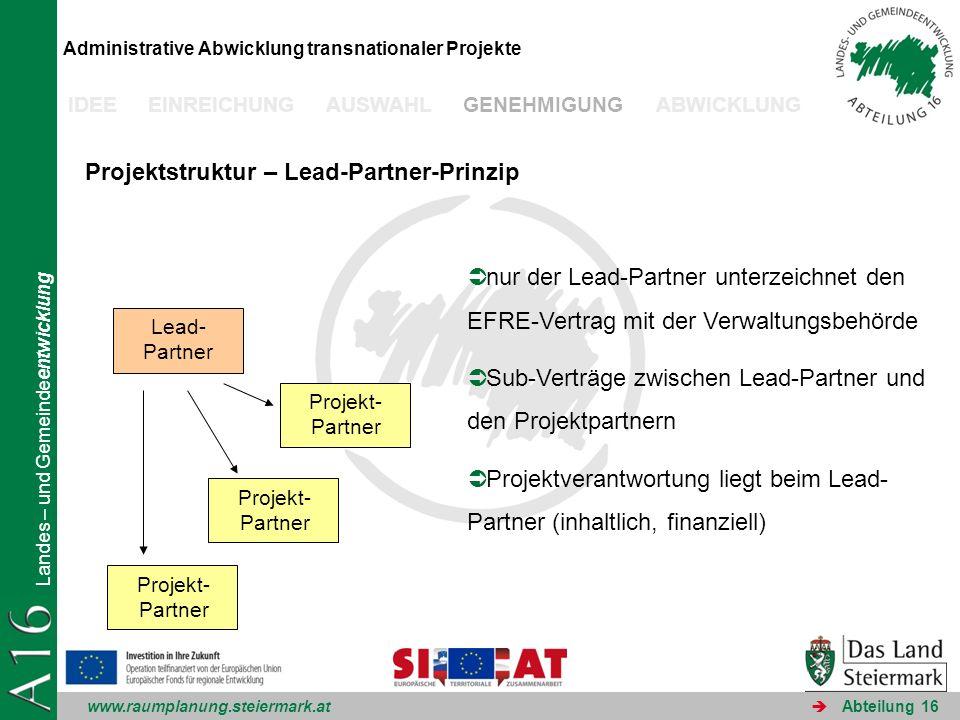 www.raumplanung.steiermark.at Landes – und Gemeindeentwicklung Abteilung 16 Administrative Abwicklung transnationaler Projekte IDEE EINREICHUNG AUSWAH