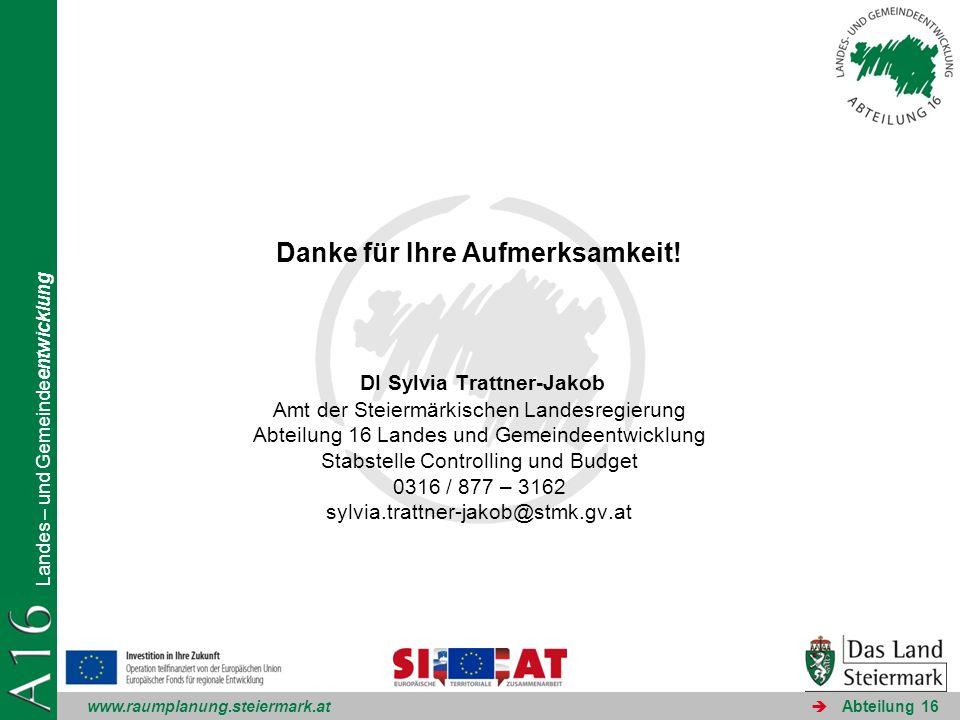 www.raumplanung.steiermark.at Landes – und Gemeindeentwicklung Abteilung 16 Danke für Ihre Aufmerksamkeit! DI Sylvia Trattner-Jakob Amt der Steiermärk
