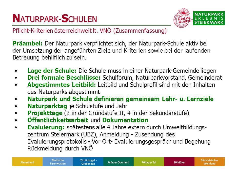 Pflicht-Kriterien österreichweit lt.