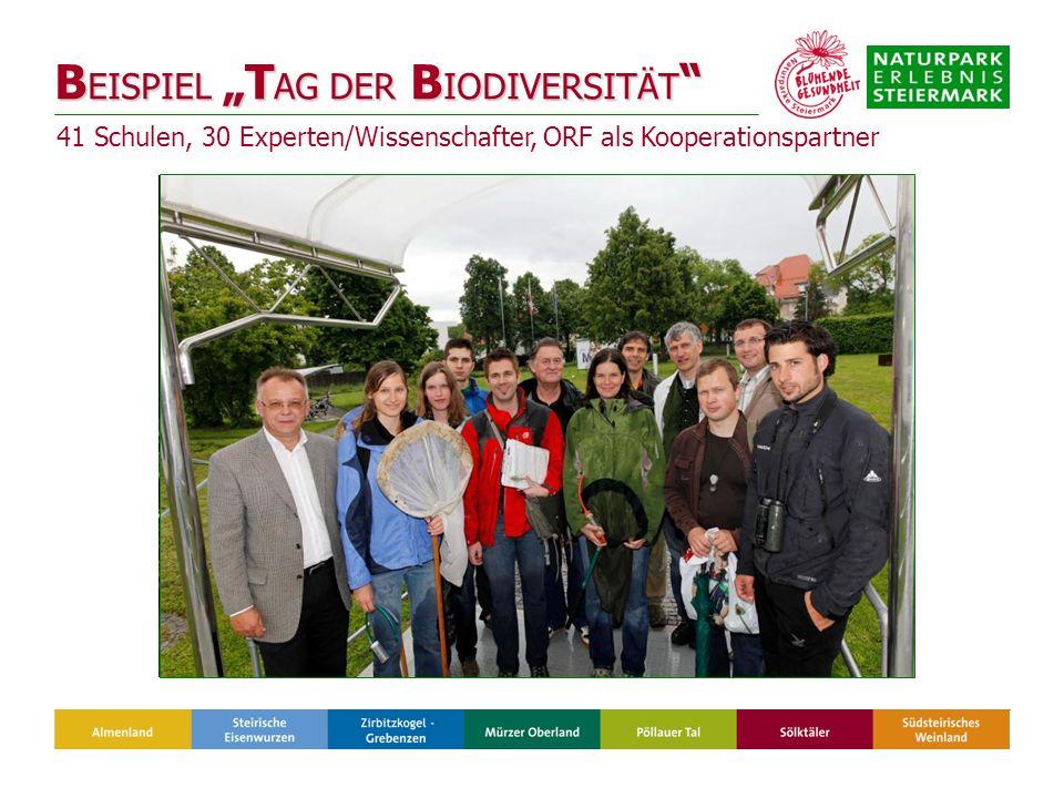B EISPIEL T AG DER B IODIVERSITÄT B EISPIEL T AG DER B IODIVERSITÄT 41 Schulen, 30 Experten/Wissenschafter, ORF als Kooperationspartner