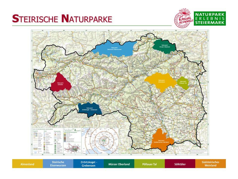 Flächen der steirischen Naturparke: 2.306 km² = 14 % Anzahl der Naturpark-Gemeinden: 71 = 13 % Gesamteinwohner: 85.984 = 7 % Nächtigungen: 870.000 = 9 % Prädikatisierte Naturparkschulen: 41 Zertifizierte Natur- und Landschaftsführer: 48 Daten 2007