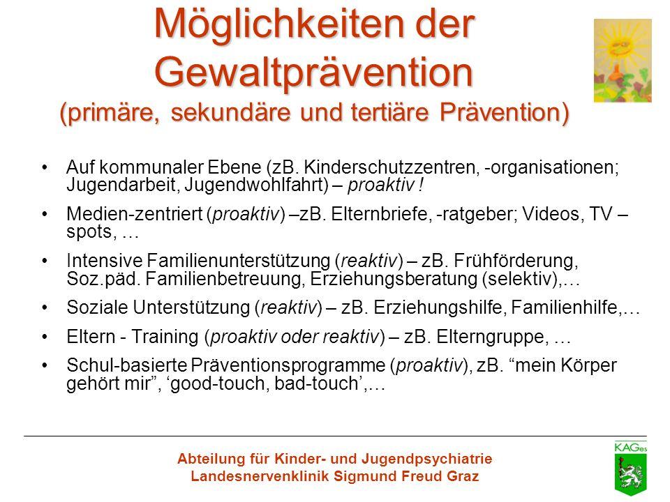 Abteilung für Kinder- und Jugendpsychiatrie Landesnervenklinik Sigmund Freud Graz Möglichkeiten der Gewaltprävention (primäre, sekundäre und tertiäre